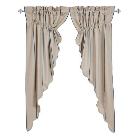 Charlotte Azure Scalloped Prairie Curtain Set of 2 63 x 36