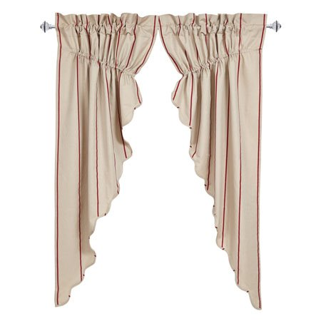 Charlotte Rouge Scalloped Prairie Curtain Set of 2 63 x 36