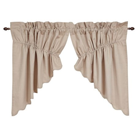 Charlotte Solid Natural Scalloped Prairie Swag Set of 2 63 x 36 x 18