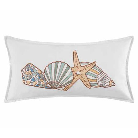 Cabana Bay Shells and Starfish Embroidered Pillow