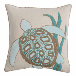Saltwater Serenity Turtle Beaded Pillow