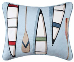 Miller Canoes & Oars Embroidered Pillow