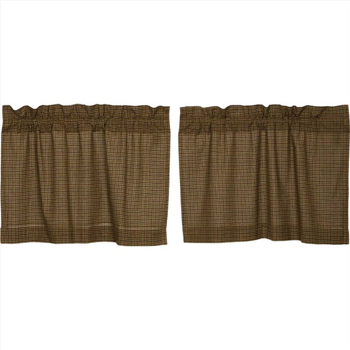 Tea Cabin Green Plaid Tier Set of 2 24