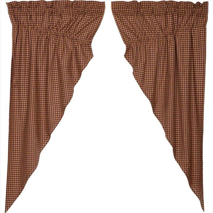 Patriotic Patch Plaid Prairie Curtain Set of 2  36x63x18