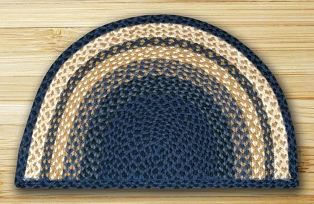Light Blue, Dark Blue & Mustard Small Rug Slice 18