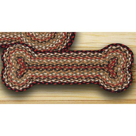 Burgundy, Mustard & Ivory Small Dog Bone Shaped Braided Rug 9
