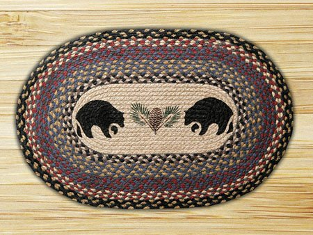 Black Bears Braided and Printed Oval Rug 20