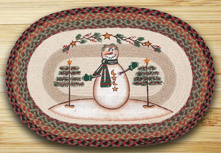 Moon and Star Snowman Braided and Printed Oval Rug 20
