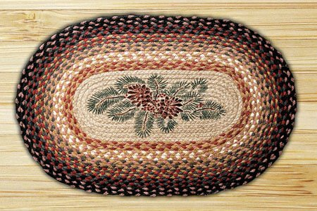 Pinecone / Red Berry Braided and Printed Oval Rug 20