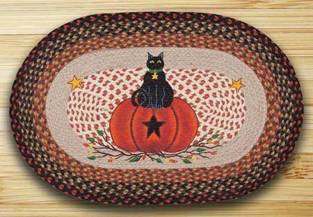 Black Cat Pumpkin Braided and Printed Oval Rug 20