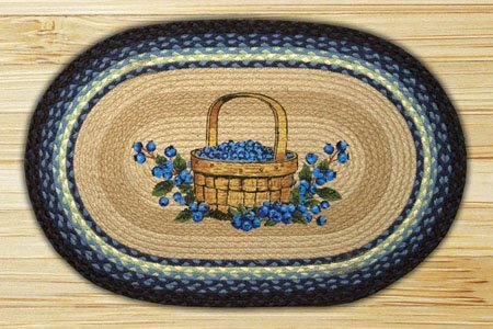 Blueberry Basket Braided and Printed Oval Rug 20