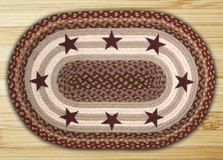 Burgundy Stars Oval Braided Rug 27