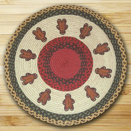 Gingerbread Men Braided and Printed Round Rug 27