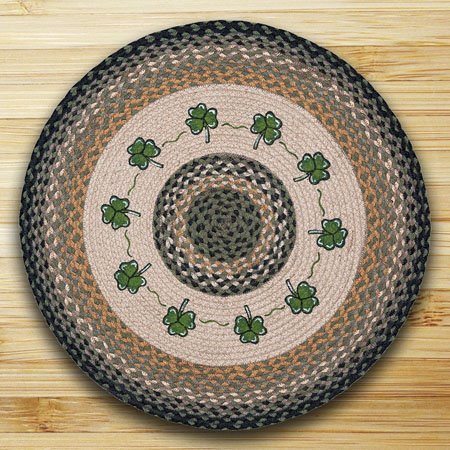 Shamrock Braided and Printed Round Rug 27