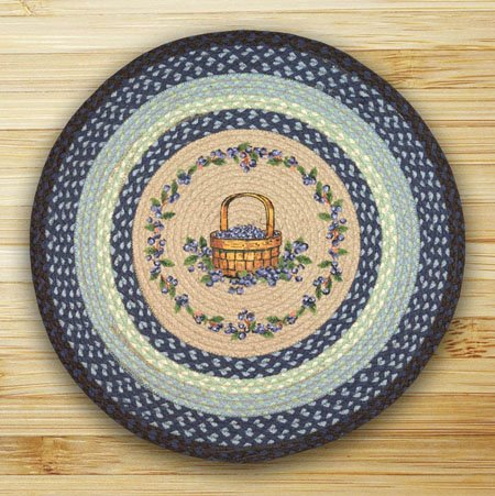 Blueberry Basket Braided and Printed Round Rug 27