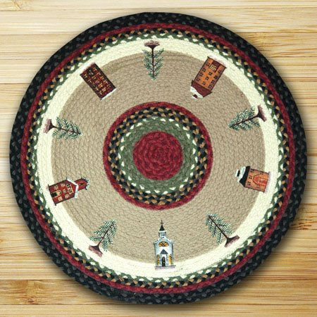 Winter Village Braided and Printed Round Rug 27