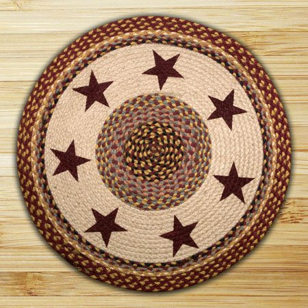 Burgundy Stars Round Braided Rug 27
