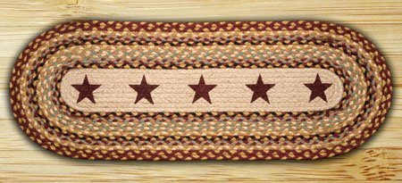 Burgundy Stars Oval Braided Rug 2'x8'