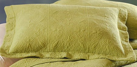 Green Quilted Matelasse Standard Sham