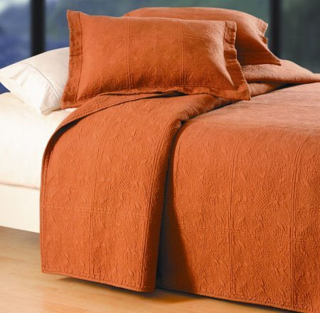 Terra Cotta Quilted Matelasse Twin Quilt