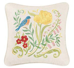 The Embroidered Garden Bluebird and Yellow Flower Embroidered Pillow