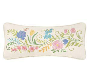 The Embroidered Garden Slender Floral Embroidered Pillow
