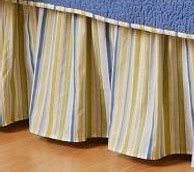 Blue & Green Stripes Queen Bedskirt