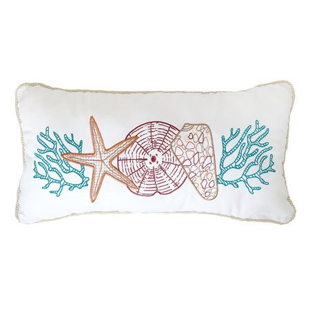 Coral Gables Embroidered Multi Shells Pillow