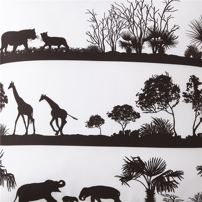 African Safari White Background, Black Print Fabric Per Yard