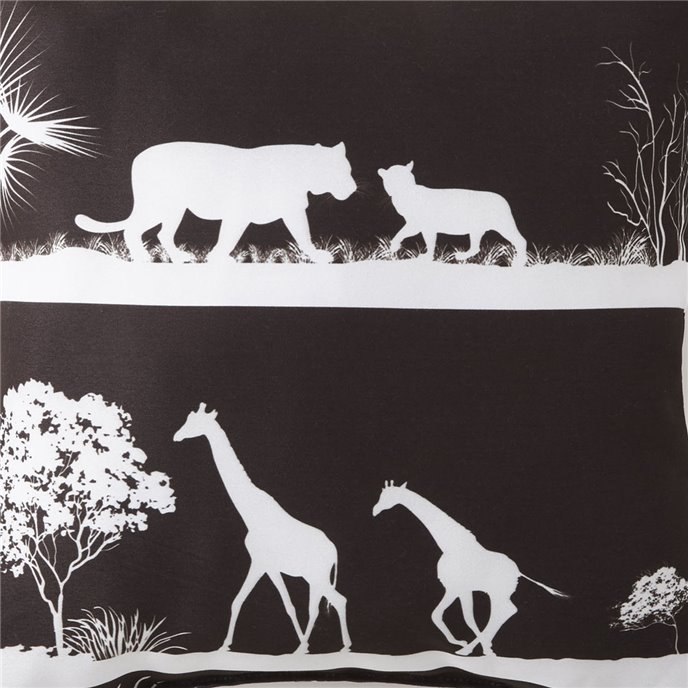 African Safari Black Background, White Print Fabric Per Yard