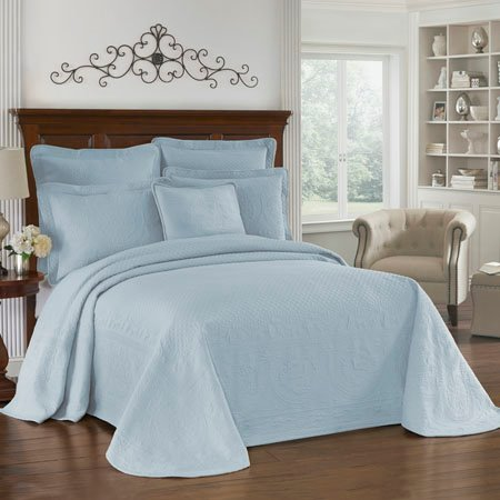 King Charles Matelasse Blue Queen Bedspread