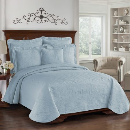 King Charles Matelasse Blue King Size Coverlet