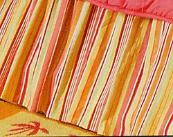 Multi Coral Stripes Twin Bedskirt for Flamingo Fun Quilt