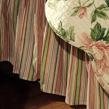 Pink & Sage Stripes Twin Bedskirt for Mia Quilt