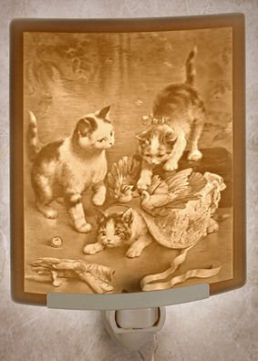 Mischief Makers Kitten Night Light By Porcelain Garden