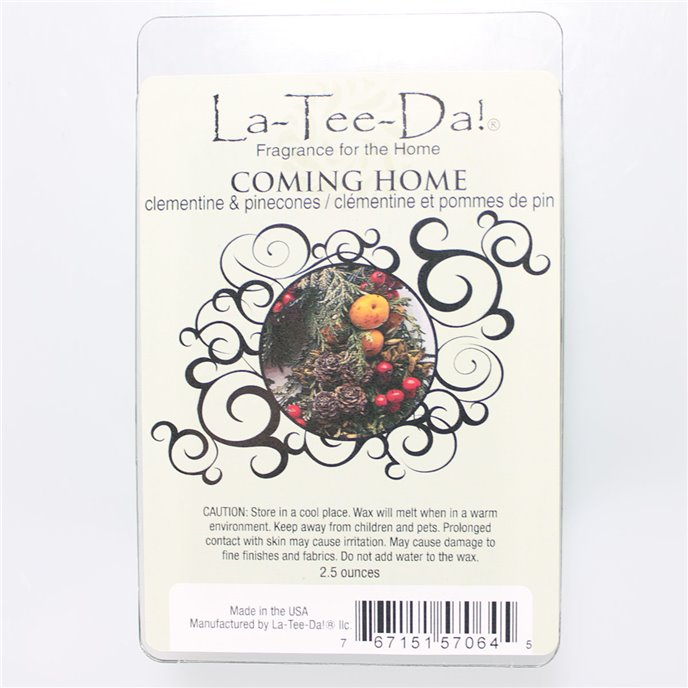 La-Tee-Da Wax Melts Coming Home - clementine & pinecones
