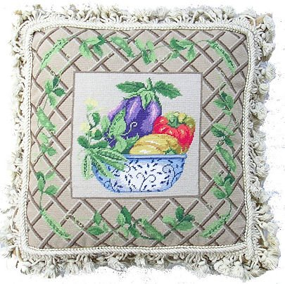 Trellis Framed Vegetable Bowl Needlepoint Pillow with Tassles, 17 inch square