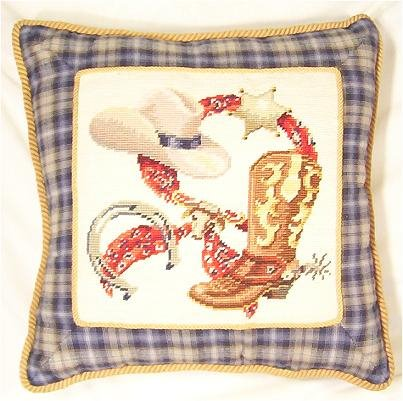Western Theme Needlepoint Pillow, 16 inch square