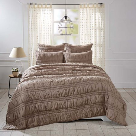 Natasha Warm Taupe King Set; Quilt 95x105-2 Shams 21x37
