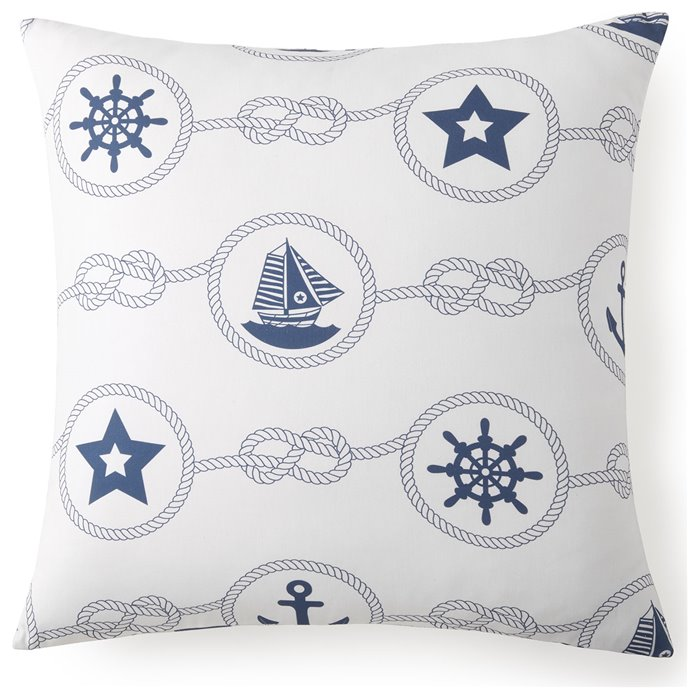 Nautical Board Euro Sham -  White Background with Blue Nautical
