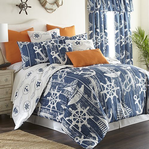 Nautical Board Comforter Set Reversible Super Queen