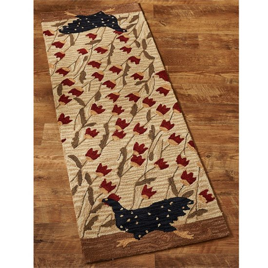 Chicken Run Hooked Rug Runner 24x72