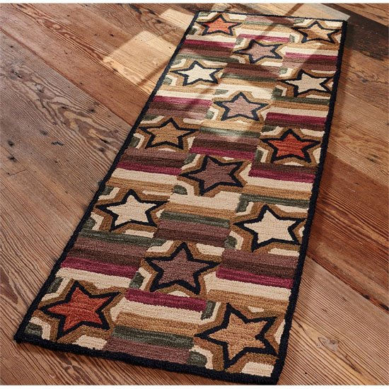 Star Block Hook Rug 24X72