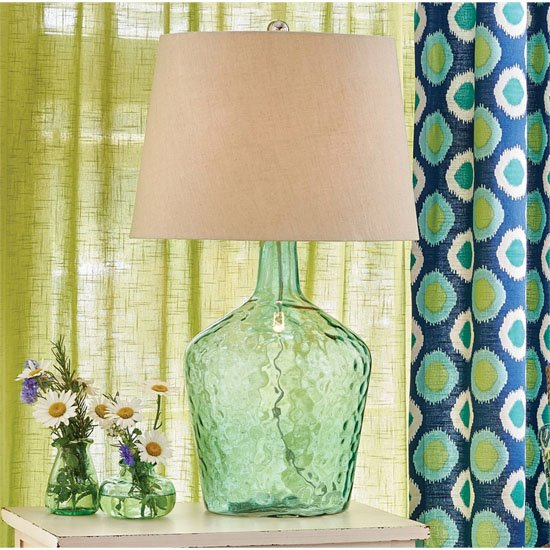 Hammered Glass Lamp with Shade
