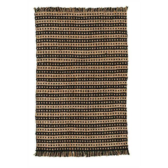 Basketweave Jute rug Black and Natural