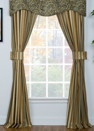 Park Place stripe Drapes with Tiebacks