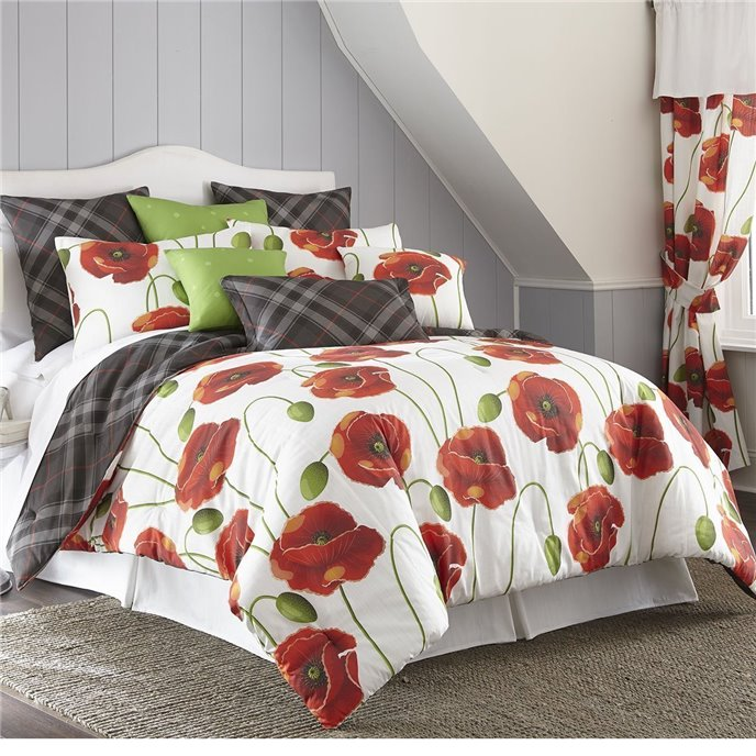 Poppy Plaid Reversible Comforter Set Twin