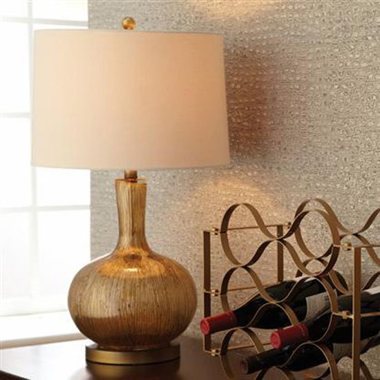 Gold Striae Lamp With Shade