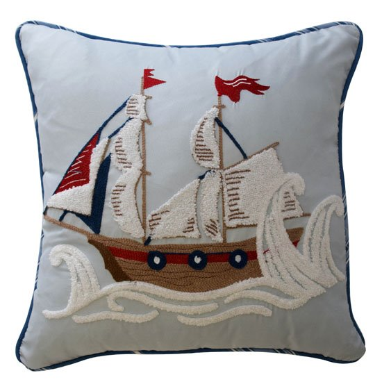 Waverly Kids Ride the Waves Pirate Ship Decorative Pillow
