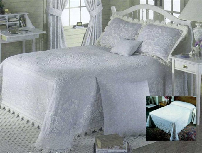 Abigail Style Queen French Blue Bedspread